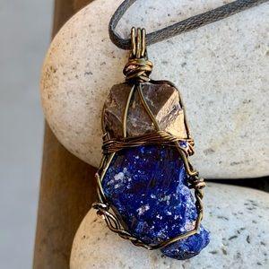 Zircon Crystal & Azurite Crystal Necklace